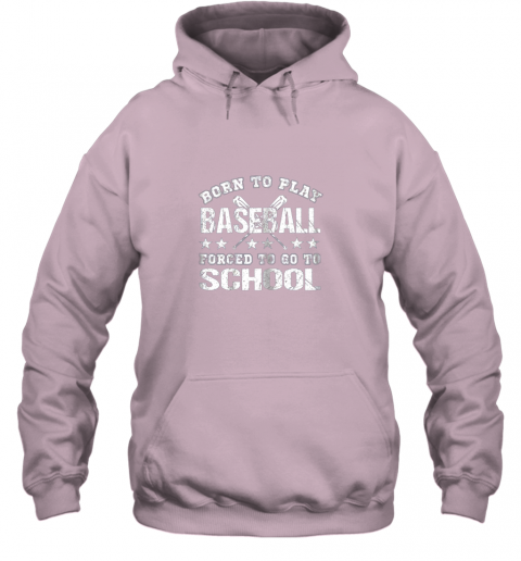 pmyy born to play baseball forced to go to school hoodie 23 front light pink