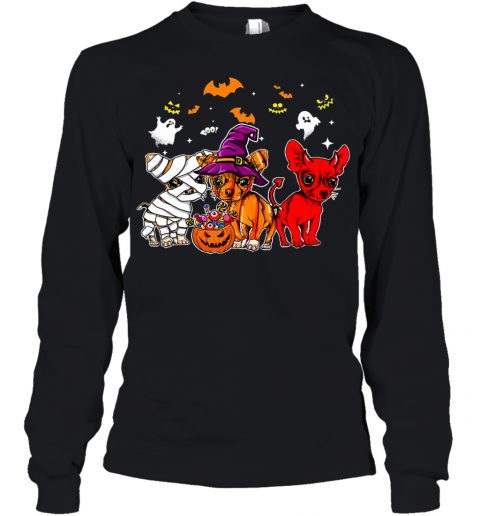 Chihuahua Happy Halloween, Cute mummy witch demon chihuahua Youth Long Sleeve