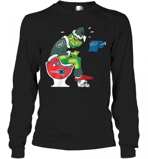 The Grinch New York Jets Shit On Toilet New England Patriots And Other Teams Christmas Long Sleeve T-Shirt