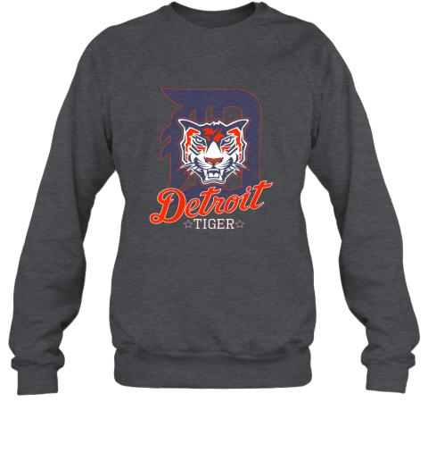 vxjk tiger mascot distressed detroit baseball t shirt new sweatshirt 35 front dark heather