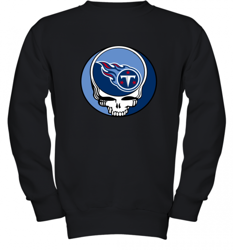 kw6l nfl team tennessee titans x grateful dead logo band youth sweatshirt 47 front black