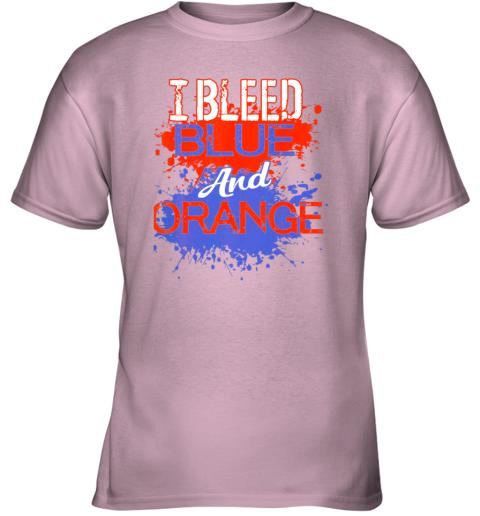 nn29 i bleed blue and orange fan shirt football soccer baseball youth t shirt 26 front light pink