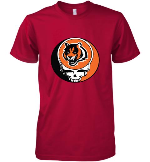 tz3i nfl team cincinnati bengals x grateful dead logo band premium guys tee 5 front red