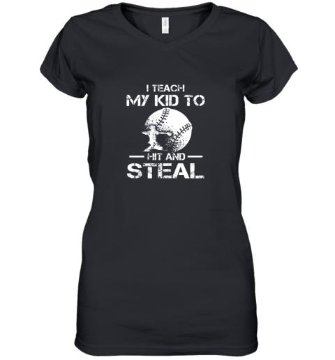 Dad Coach I Teach My Kids To Hit Steal Baseball Gift Women's V-Neck T-Shirt