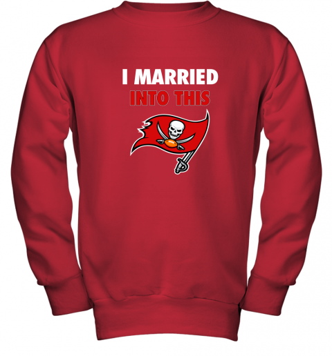 apqh i married into this tampa bay buccaneers football nfl youth sweatshirt 47 front red