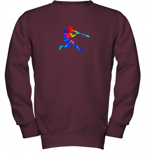 c7yp tie dye baseball batter shirt retro player coach boys gifts youth sweatshirt 47 front maroon