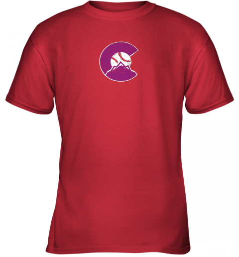 u72s colorado rocky mountain baseball sports team youth t shirt 26 front red