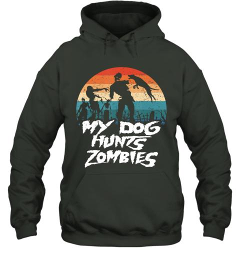 Retro My Dog Hunts Zombies Halloween Hunter Hoodie