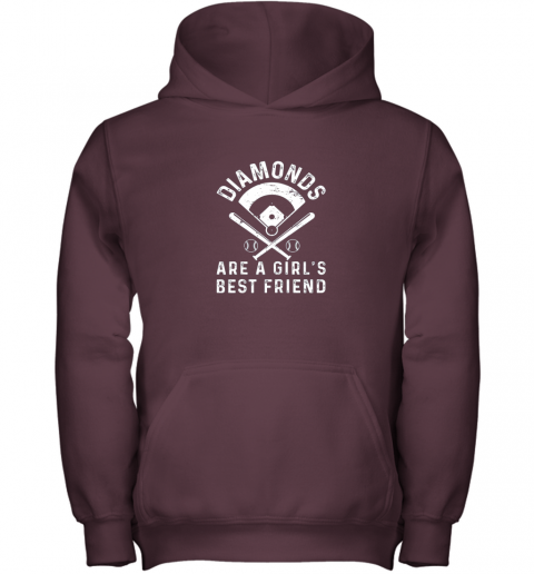 qc1q diamonds are a girl39 s best friend baseball youth hoodie 43 front maroon