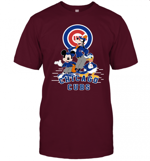 uwlt chicago cubs mickey donald and goofy baseball jersey t shirt 60 front maroon