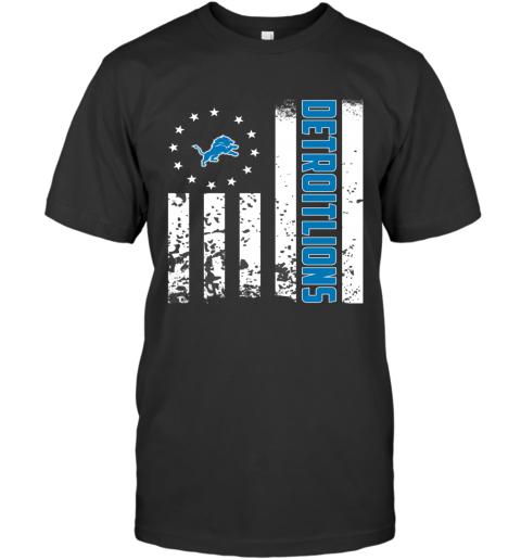 NFL Detroit Lions Logo American Flag T-Shirt