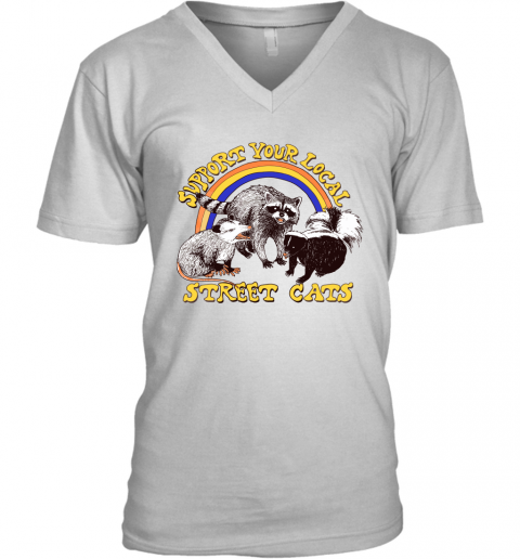 o3ts support your local street cats trash panda skunk wild animal shirts v neck unisex 8 front white