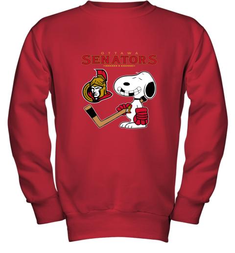 8pwz ottawa senators ice hockey broken teeth snoopy nhl youth sweatshirt 47 front red