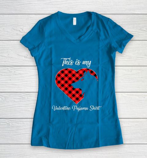 This Is My Valentine Pajama Shirt Wolf Valentines Day Women's V-Neck T-Shirt 5
