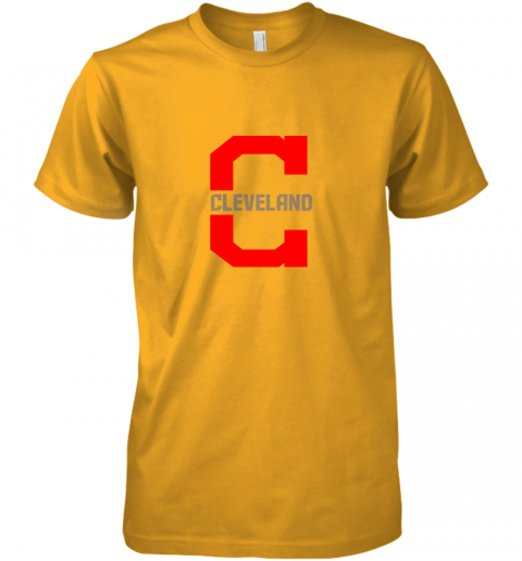 uhwl cleveland hometown indian tribe vintage for baseball premium guys tee 5 front gold