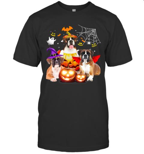 Three Boxer Dog Halloween Jack O Lantern Pumpkin Witch T-Shirt