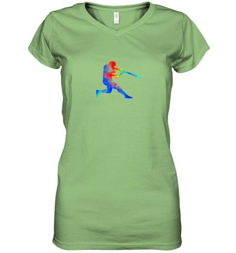 kroj tie dye baseball batter shirt retro player coach boys gifts women v neck t shirt 39 front lime
