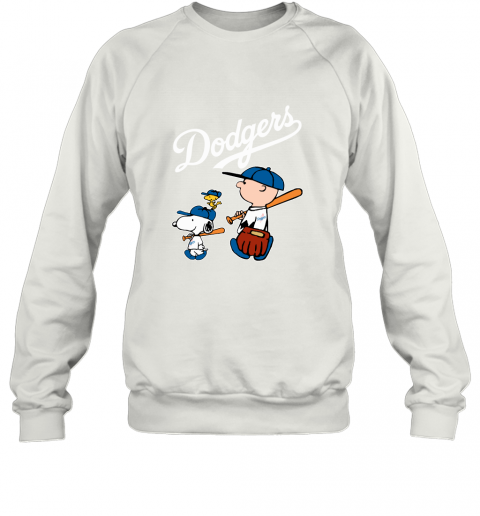 pepv los angeles dodgers lets play baseball together snoopy mlb shirt sweatshirt 35 front white