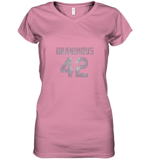 mnhq new york 42 baseball unanimous hof distressed mo hero women v neck t shirt 39 front azalea
