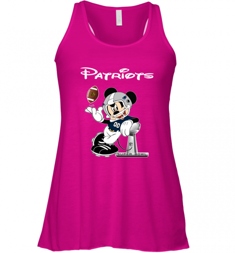 z73x mickey patriots taking the super bowl trophy football flowy tank 32 front neon pink