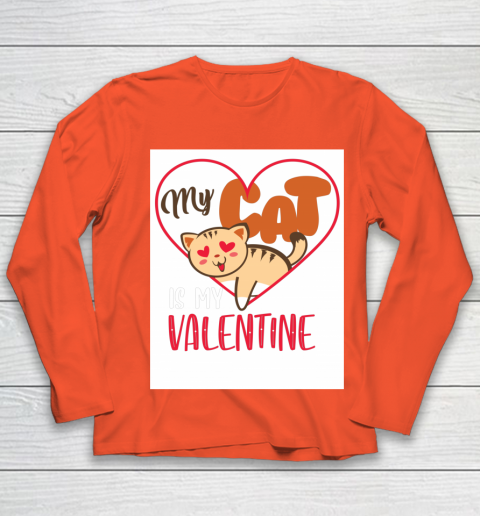 Cute My Cat Is My Valentine Cat Lover Valentines Day Gift Youth Long Sleeve 3