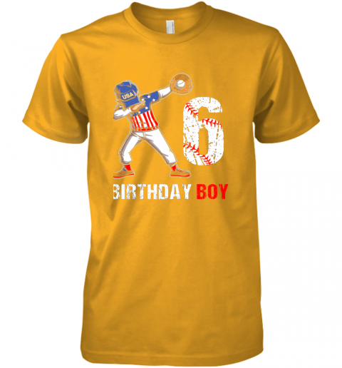 y2qy kids 6 years old 6th birthday baseball dabbing shirt gift party premium guys tee 5 front gold
