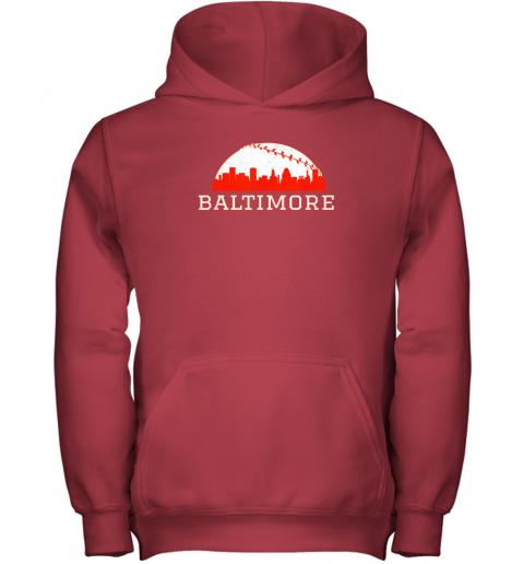 urni vintage downtown baltimore md baseball skyline youth hoodie 43 front red