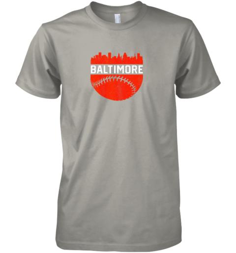 tzyl vintage downtown baltimore maryland skyline baseball premium guys tee 5 front light grey