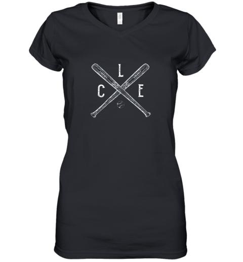 Vintage Cleveland Baseball Shirt Cleveland Ohio Women's V-Neck T-Shirt