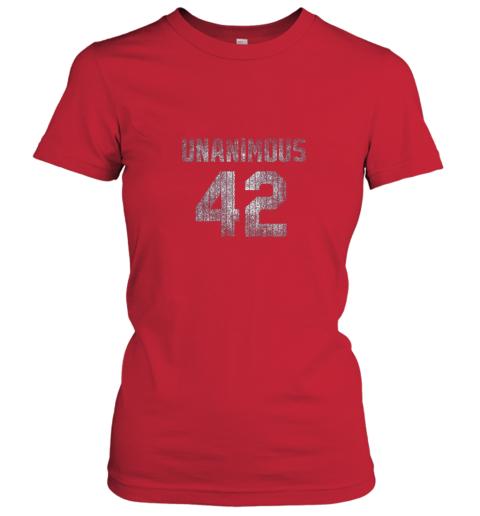 ncol new york 42 baseball unanimous hof distressed mo hero ladies t shirt 20 front red