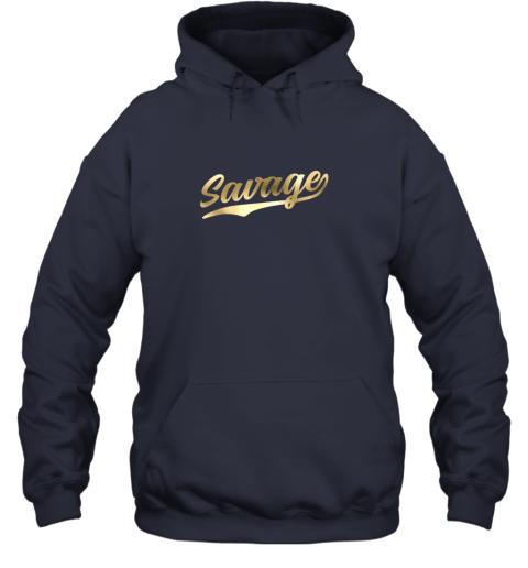 zkkx savage shirt retro 1970s baseball script font hoodie 23 front navy