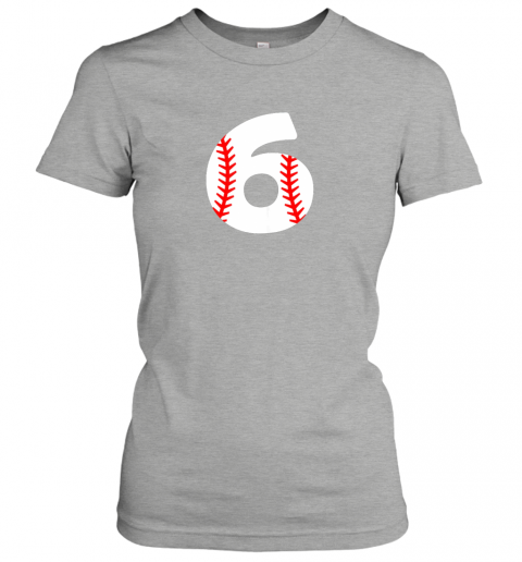 p84w sixth birthday 6th baseball shirtnumber 6 born in 2013 ladies t shirt 20 front ash