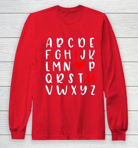 Alphabet ABC I Love You Romance Valentine Slogan Long Sleeve T-Shirt 7