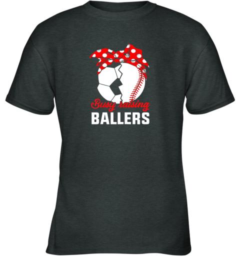 n3on busy raising a ballerfunny baseball soccer mom youth t shirt 26 front dark heather