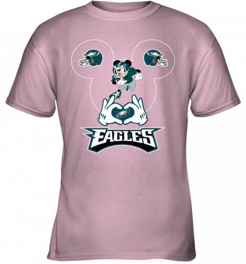 vwqs i love the eagles mickey mouse philadelphia eagles youth t shirt 26 front light pink