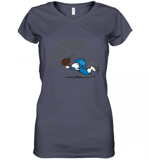 Detroit Lions Snoopy Plays The Football Game Women's V-Neck T-Shirt