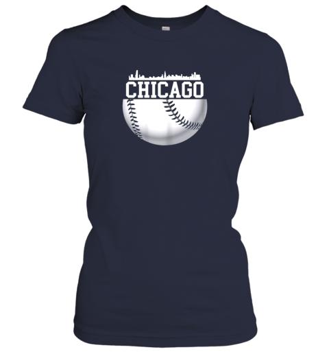 xbxy vintage downtown chicago shirt baseball retro illinois state ladies t shirt 20 front navy