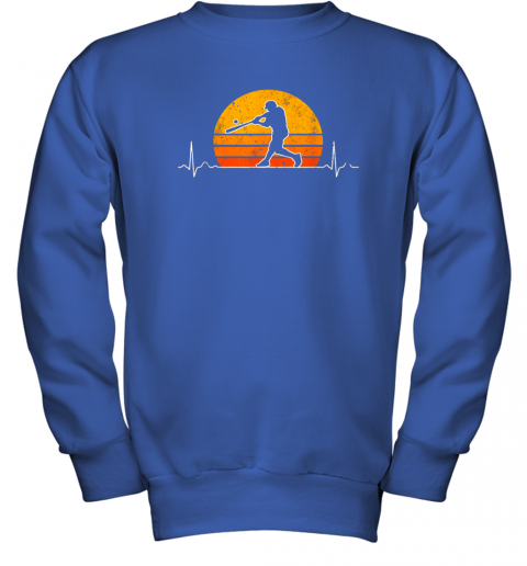 cjng vintage baseball heartbeat retro sunset swinging batter gift youth sweatshirt 47 front royal