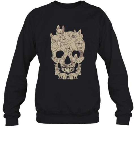 French Bulldog Skull Skeleton Halloween Frenchie Tee Sweatshirt