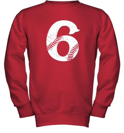 wmvt kids happy birthday 6th 6 year old baseball gift boys girls 2013 youth sweatshirt 47 front red