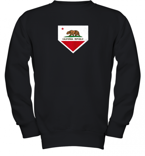 Vintage Baseball Home Plate With California State Flag Youth Sweatshirt