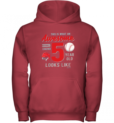 fuxn kids 5th birthday gift awesome 5 year old baseball legend youth hoodie 43 front red