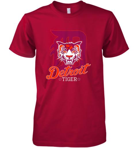 wwys tiger mascot distressed detroit baseball t shirt new premium guys tee 5 front red