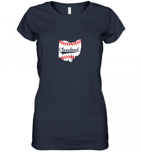 tnkz cleveland ohio 216 baseball women v neck t shirt 39 front navy