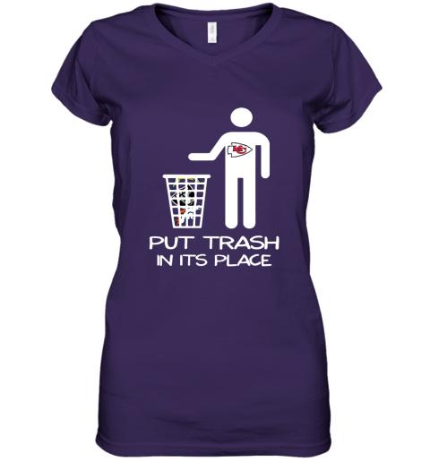 Kansas City Chiefs Put Trash In Its Place Funny NFL Women's V-Neck T-Shirt