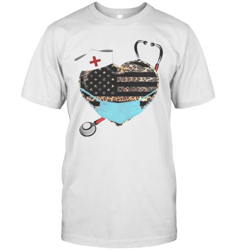 Heart Stethoscope Nurse Leopart Covid 19 T-Shirt