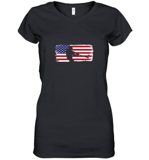 USA American Flag Baseball Player Perfect Gift Women's V-Neck T-Shirt