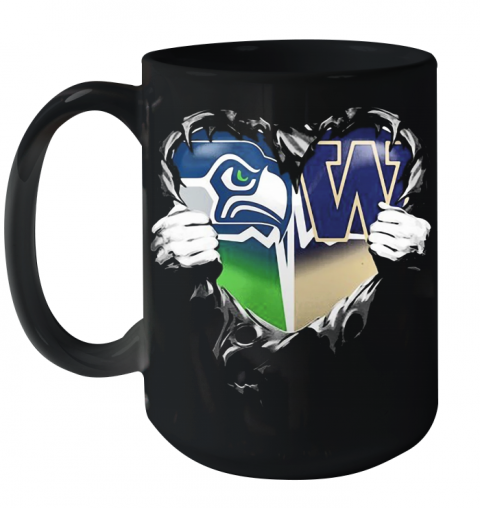 Blood Inside Seattle Seahawks And Washington Huskies Heart Ceramic Mug 15oz