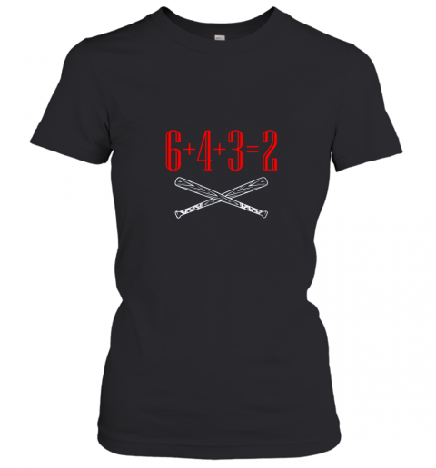 Funny Baseball Math 6 plus 4 plus 3 equals 2 Double Play Women's T-Shirt