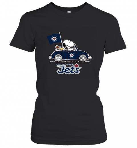 Snoopy And Woodstock Ride The Winnipeg Jets Car Women's T-Shirt